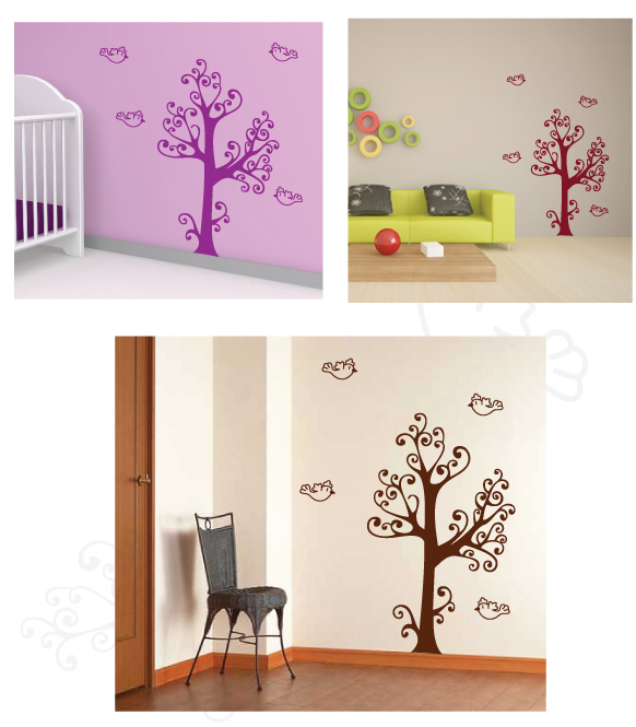 Curly Tree and birds wall sticker