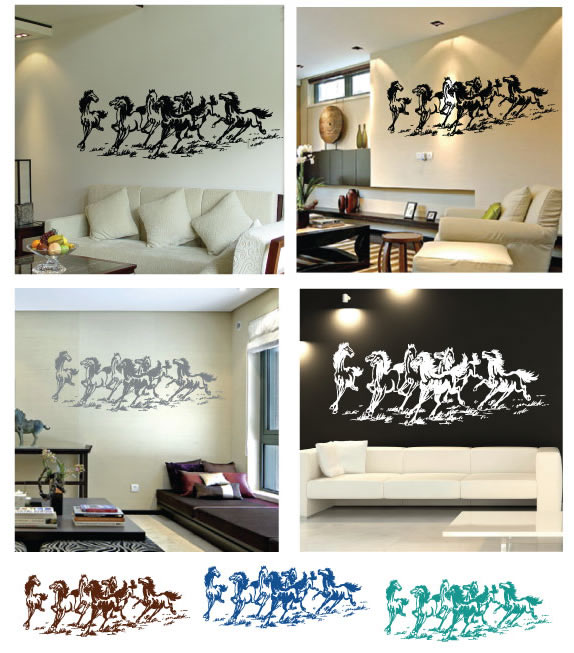 The eight horses wall sticker