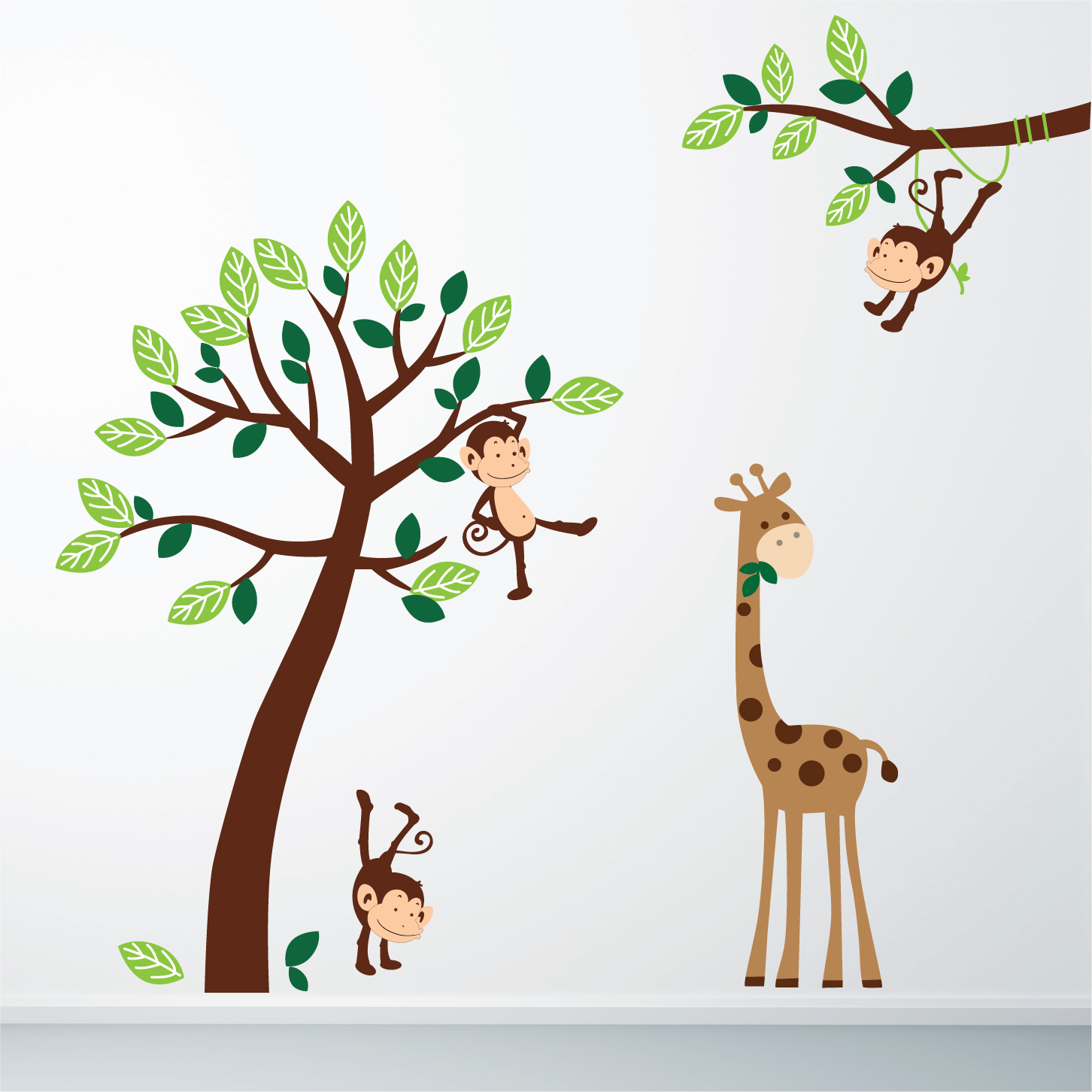 pics photos giraffe and monkey wall stickers personalised monkey blossom wall stickers by parkins