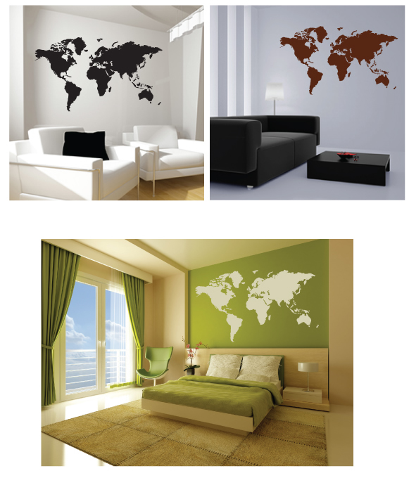 Large world map wall sticker