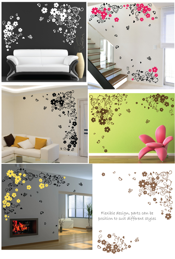 Flowers and Hearts Wall Stickers